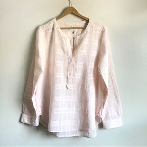 The Loft Softened Pink Grid Print Pullover shirt